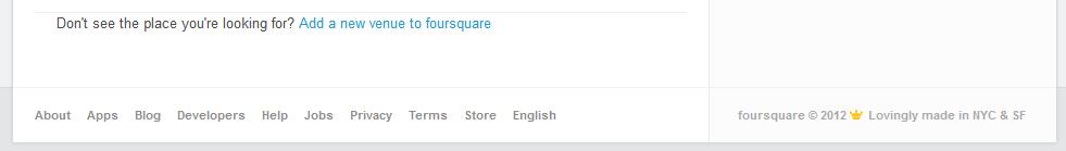 Klik add a new venue to foursquare