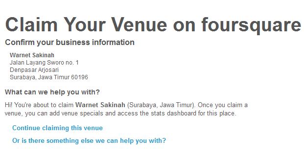 klik continue claiming this venue