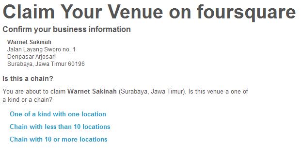 Pilih jenis venue, chain atau bukan