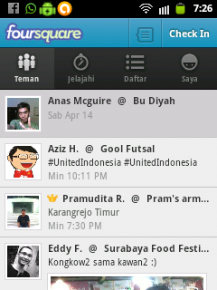 Buka Aplikasi Foursquare, Klik Menu Check-in