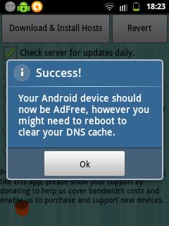 Aplikasi AdFree berhasil disetting