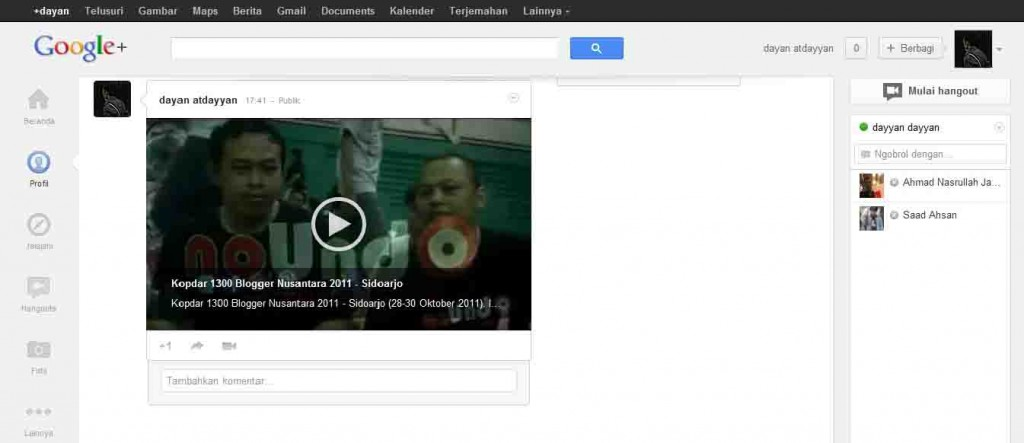 Tampilan Video Youtube di Google Plus