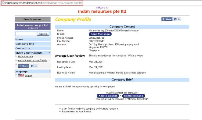 Indah Resources Pte Ltd