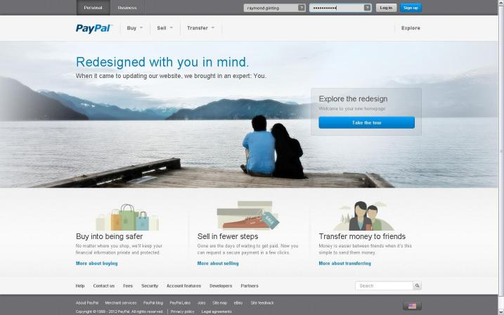 "Paypal new home page design with their welcome text ""Redesigned with you in mind."""