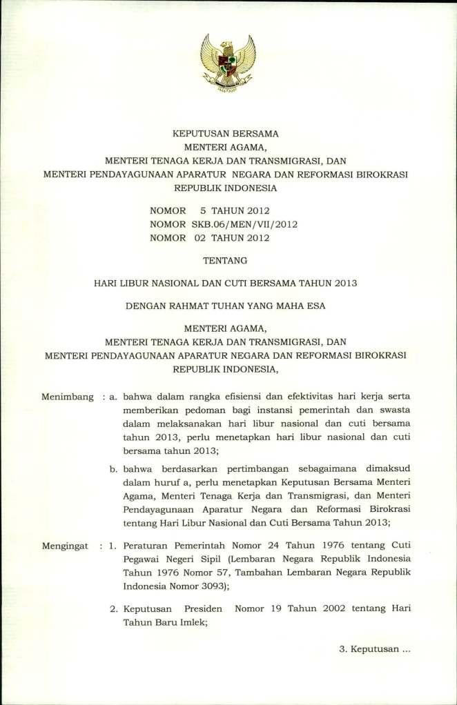SKB  3 Menteri Tentang Hari Libur Nasional dan Cuti  Bersama 2013_Page_1