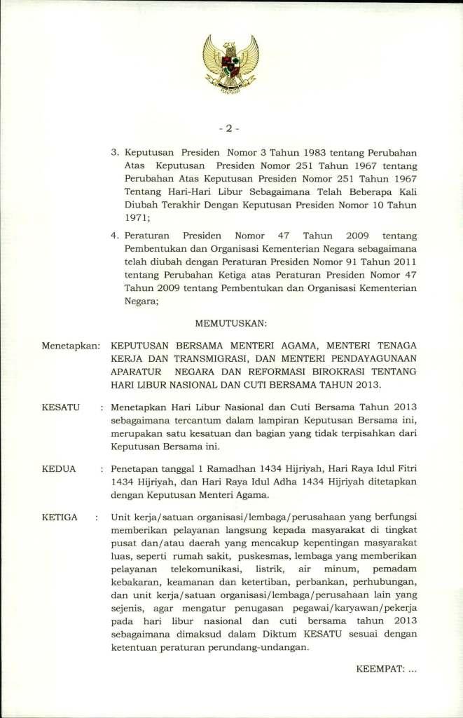 SKB  3 Menteri Tentang Hari Libur Nasional dan Cuti  Bersama 2013_Page_2