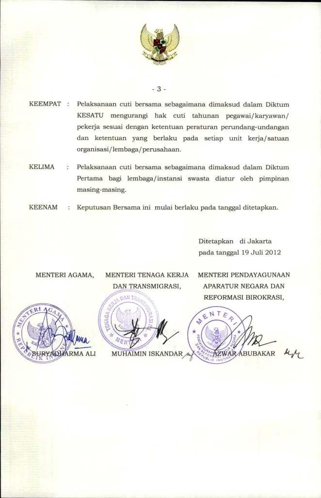 SKB  3 Menteri Tentang Hari Libur Nasional dan Cuti  Bersama 2013_Page_3