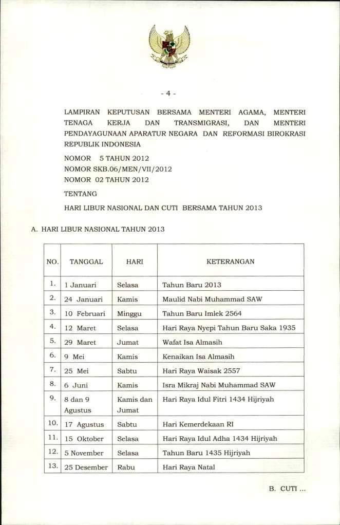 SKB  3 Menteri Tentang Hari Libur Nasional dan Cuti  Bersama 2013_Page_4