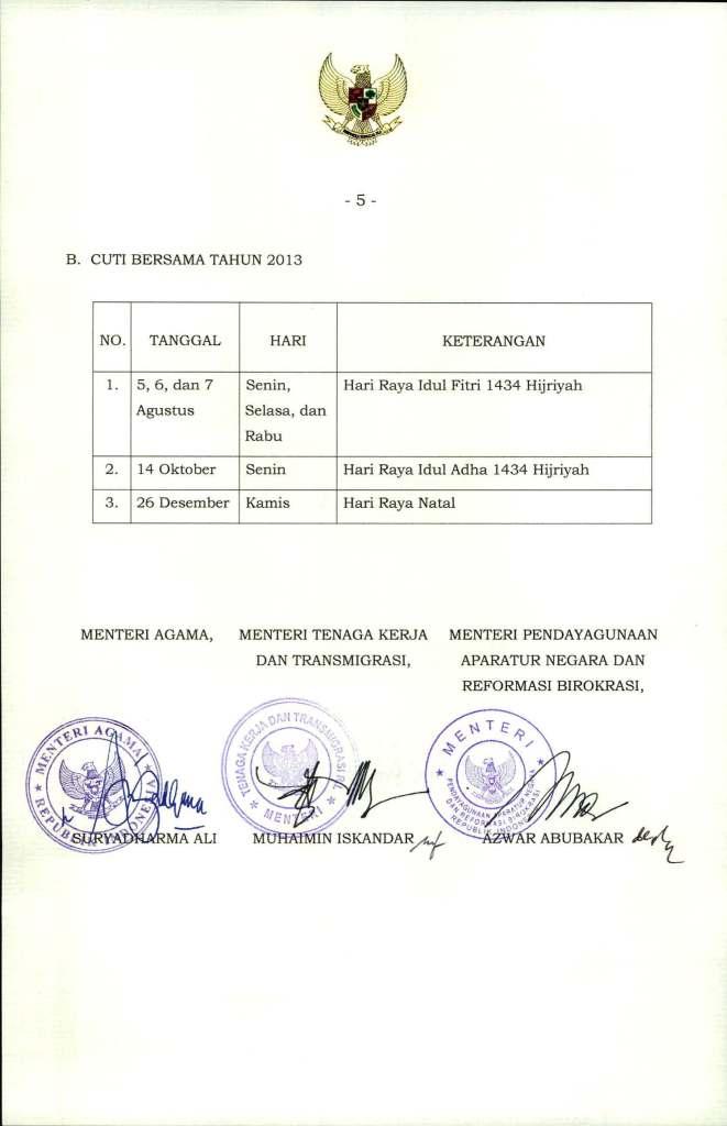 SKB  3 Menteri Tentang Hari Libur Nasional dan Cuti  Bersama 2013_Page_5
